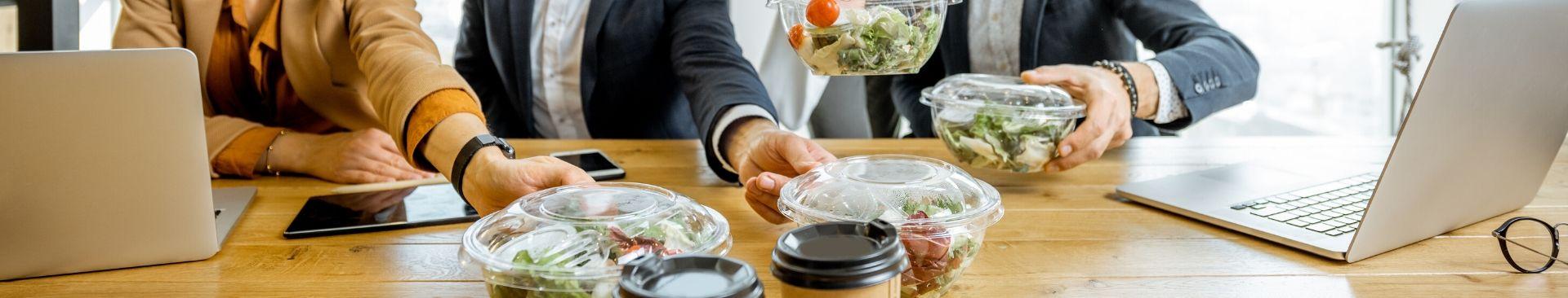 employee eating salad
