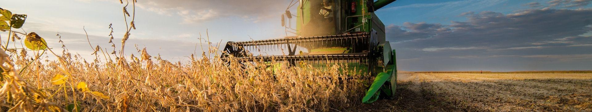 tractor harvesting field